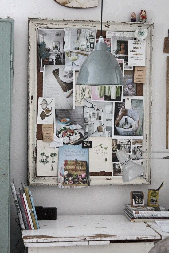 a pinboard made of burlap and an old window frame is a great idea to add a shabby chic feel