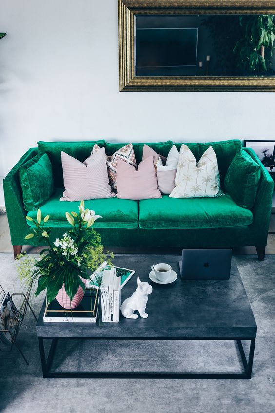 velvet is one of the current trends, and choosing a Stockholm sofa in emerald velvet is a gorgeous idea