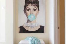 19 why not hang a glam and fun artwork in a girlish entryway