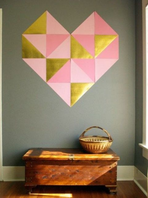 a large paper geometric heart in pink, blush and gold is an easy project