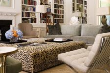 20 add animal print to your home with an oversized leopard print ottoman in your living room