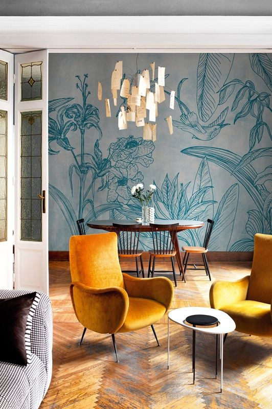elegant flora and fauna rpint wallpaper adds a timeless feel to the space