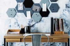 pinboard for a geometric home office decor