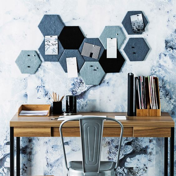 fabric covered hexagons create a cool geometric pinboard and work as decor