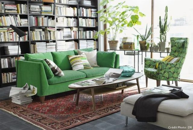 refresh your space with a green Stockholm sofa, a bold chair and some potted greenery