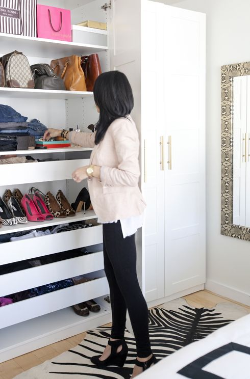 IKEA Pax wardrobe hack to create a comfy girlish dressing room