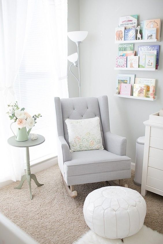 Strandmon rocked by IKEA hacked for the nursery in dove grey