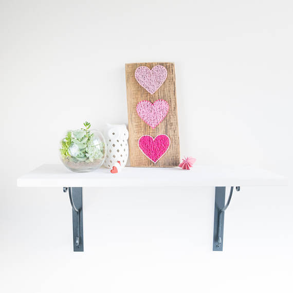 a modern pink heart string art for Valentine's Day