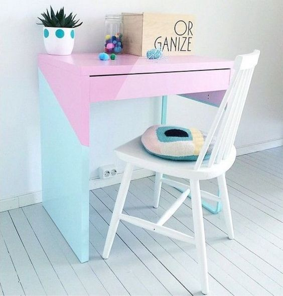 a pastel geometric Micke desk hack as a workspace, a study space for kids or a craft desk