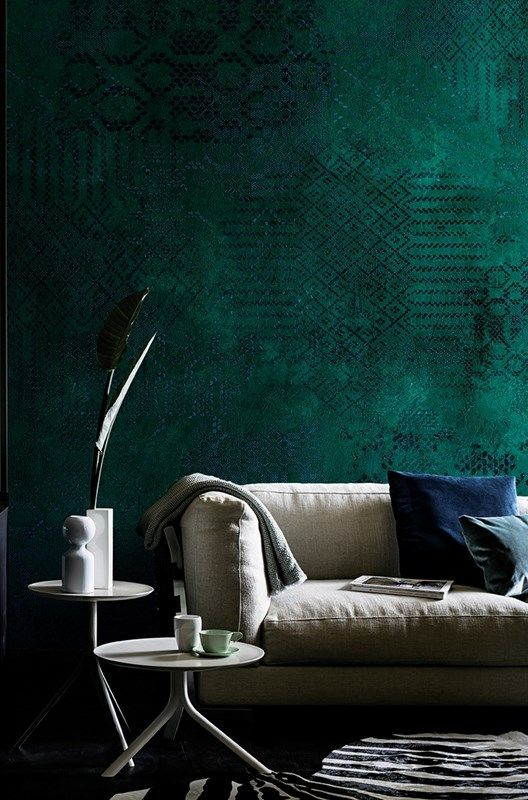 bold emerald wallpaper on one accent wall is a gorgeous idea to add jewel tones