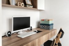 22 a floating thick desk with drawers is a great idea for a comfy modern home office