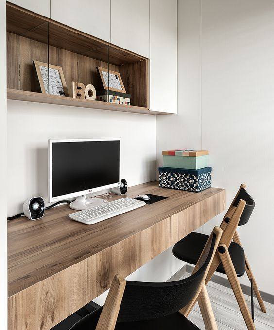 a floating thick desk with drawers is a great idea for a comfy modern home office