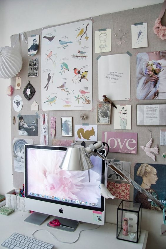 an oversized fabric pinboard is a great idea and you can easily make one yourself