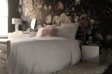 22 dark realistic floral wallpaper to cover just one wall for an accent