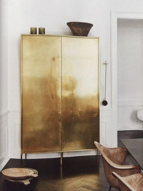 a gorgeous shiny gilded cabinet will attract attention everywhere