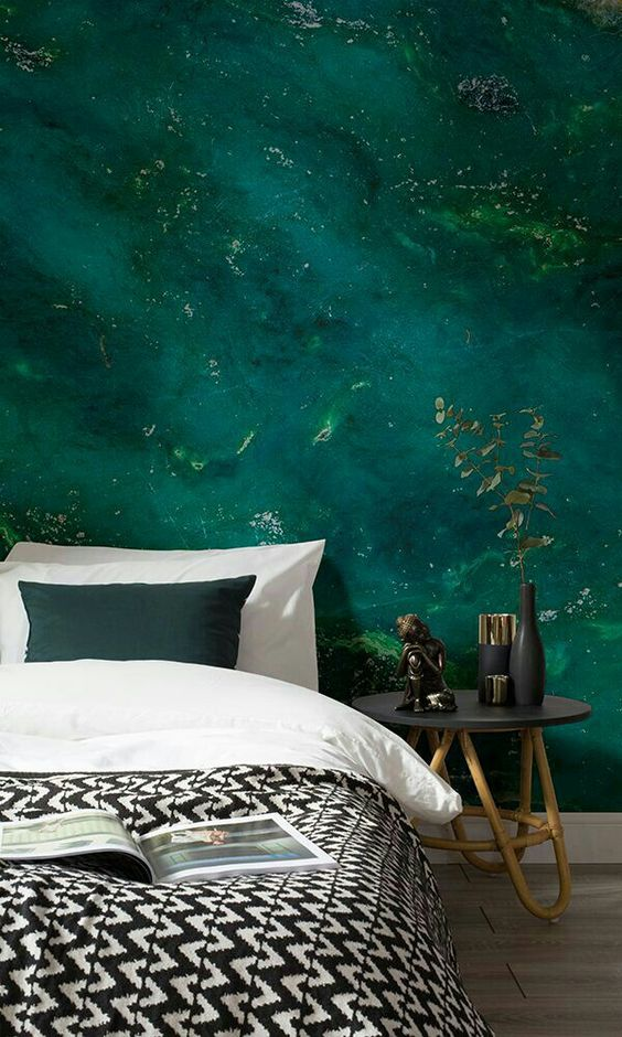 super bold emerald water wall mural for a relaxing touch and a bold color at the same time