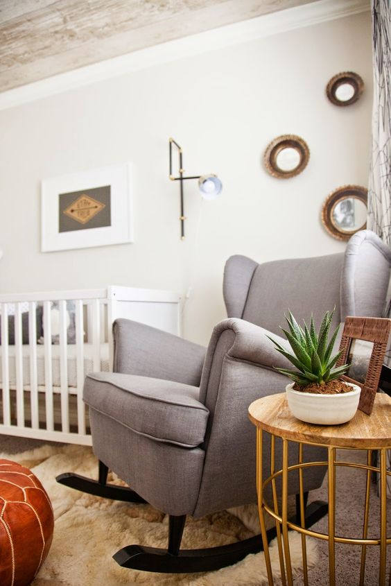 IKEA Strandmon chair is great for any nursery, it's a swinging chair and it's very comfortable