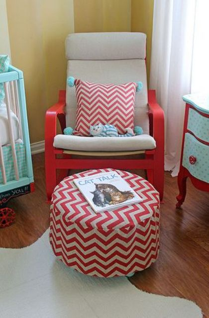 IKEA Pang chair hacked in nautical style for a fun and colroful nautical nursery