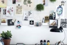 25 a cool large pegboard pinboard for making the space more creative and showing favorite things