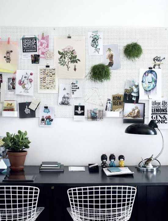 a cool large pegboard pinboard for making the space more creative and showing favorite things