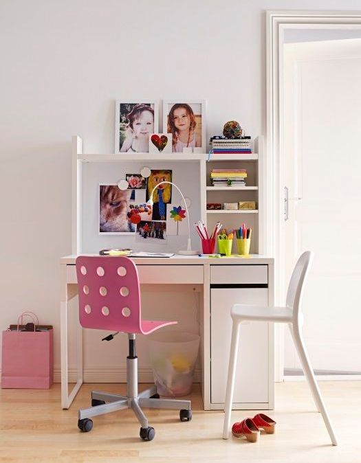 a cool study space with a Micke desk, a storage unit and a couple of stools is ideal for a kid
