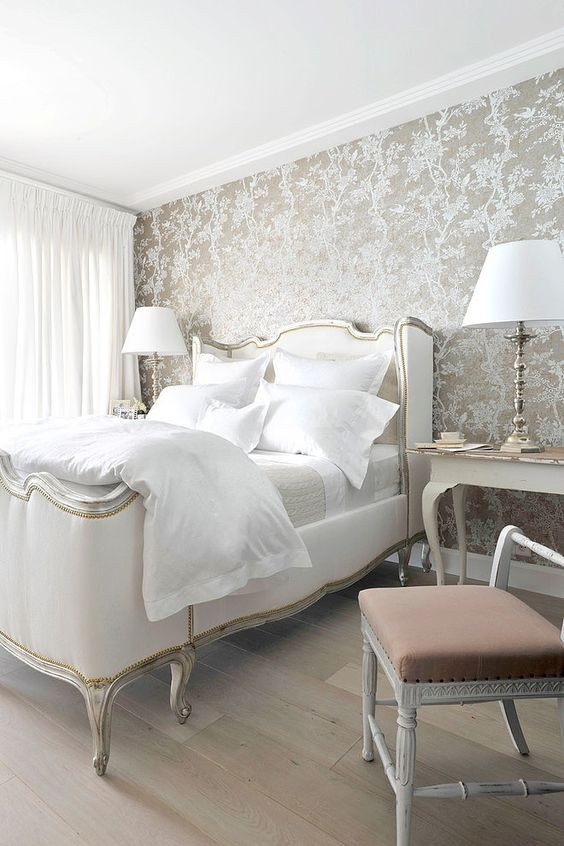 elegant metallic wallpaper with a floral print for a refined and chic bedroom