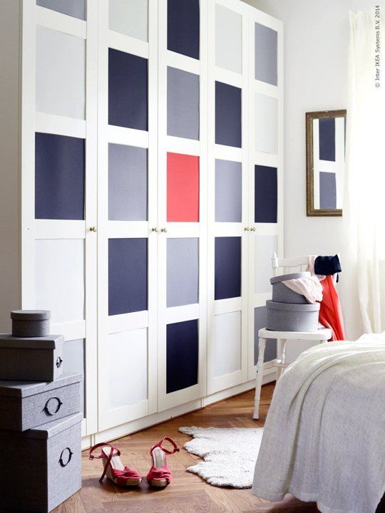 muted blue, navy and red panels inserted make a neutral Pax piece look bold