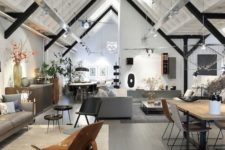 25 to make the ceiling stand out, make some black beams, hang lamps and built-in shelves