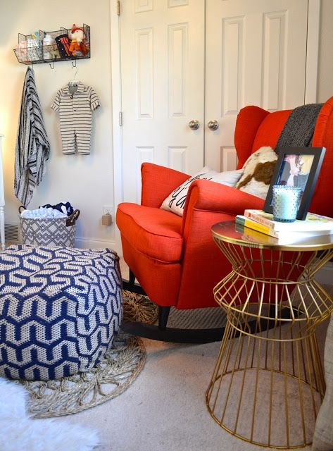 IKEA Strandmon chair in bold red for a nautical nursery is a great and comfy idea