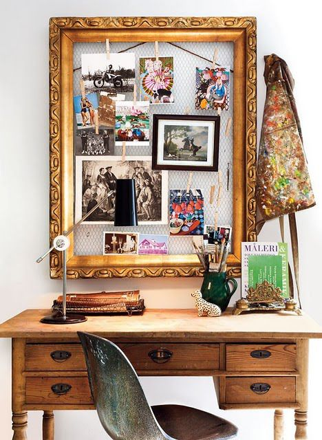 a creative pinboard of chicken wire and a chic refined frame can be DIYed and it's veyr comfy in using