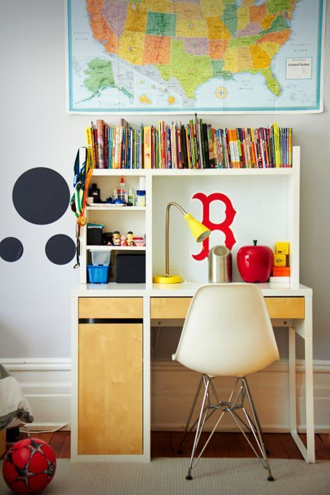 a cute study space with a Micke desk, a shelf unit on it and a drawer unit next to it plus some colorful touches