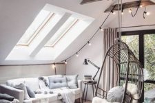 26 highlight the ceiling with wooden beams and lights and hang a rattan chair