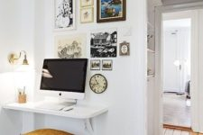 27 a tiny floating desk completed with a comfy upholstered stool  for a small workspace