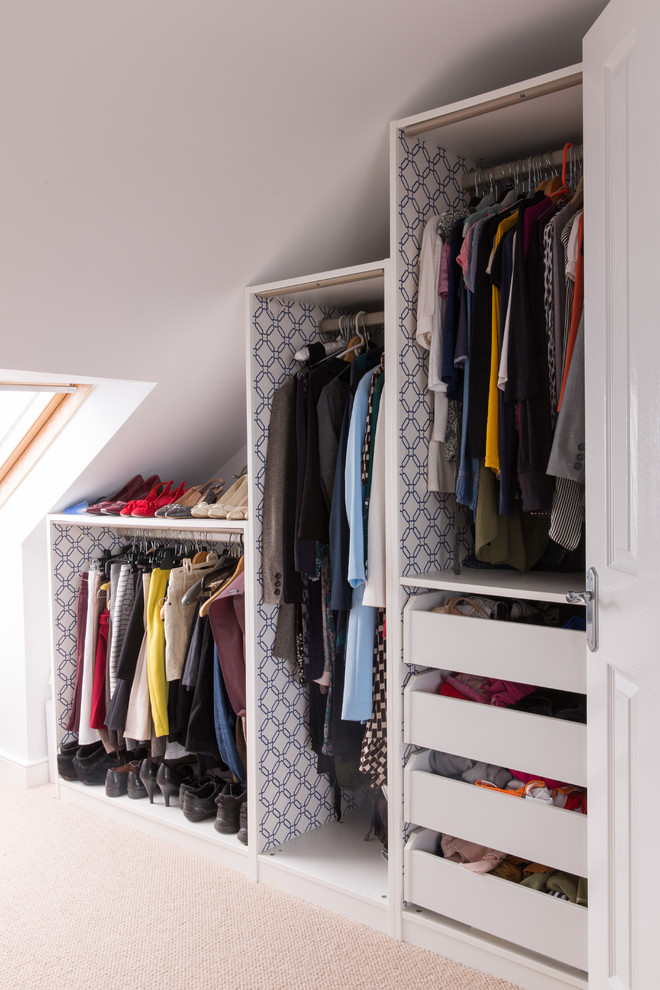 Adding wallpaper inside the wardrobes hides fitting holes and make them look stylish.