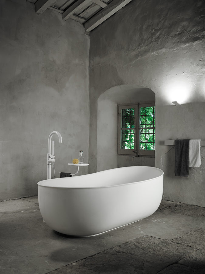 Prime bathtub is inspired by bathing antiquity   Roman and Turkish saunas and its shape is inspired by water