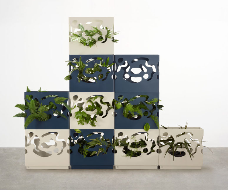 These stylish modern planters are inspired by topographical patterns of one famous architect