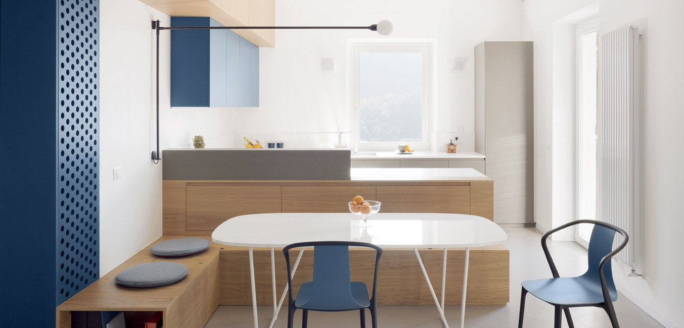 This apartment is done in Japandi style and with a muted color palette