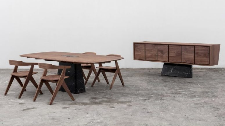 This luxurious furniture collection features marble and walnut, and the contrast between the materials is very eye catchy
