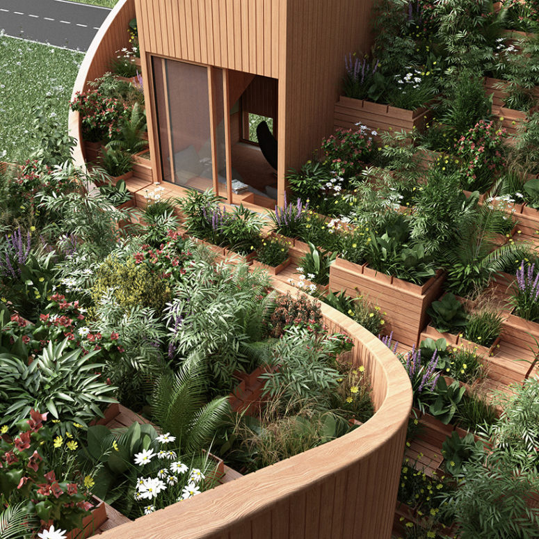 Yin & Yang House With A Vegetable Garden On The Roof
