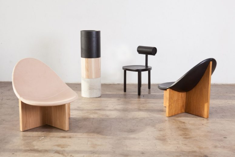 Leather, wood and metal are used for the furniture collection