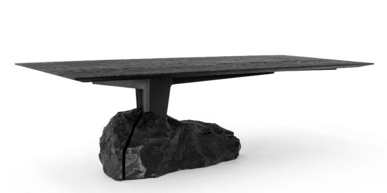 The ccollection features Humo dining table with a piece of marble as a base