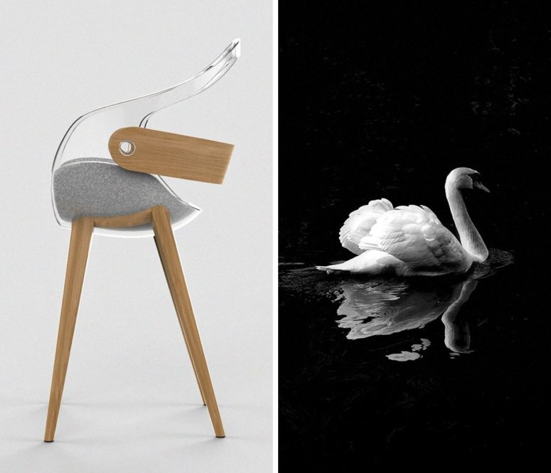 The chair is inspired by the gracious bird and looks no less exquisite than it