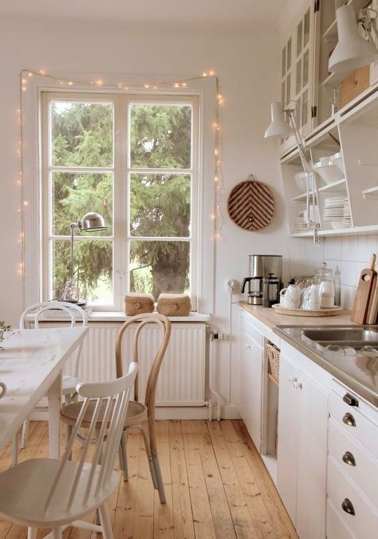 highlight the window with string lights to enliven the space