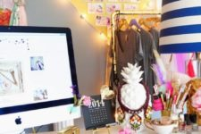 03 a heart-shaped mood board decorated with string lights is a cool idea for a girl's room