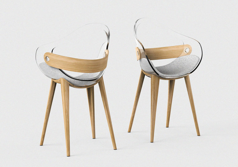 The back of the chair supports the back muscles in a very comfortable way besides being very chic