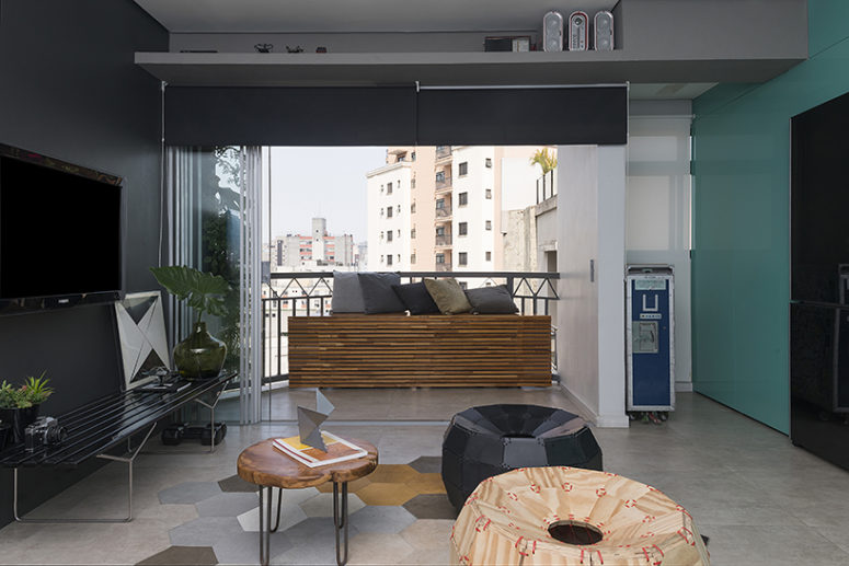 The balcony is integrated into the rest of the space to make it larger