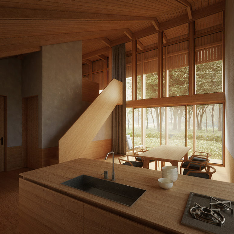 The interiors are very laconic, done with Japanese aesthetics or maybe in Japandi style