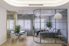 05 open up your apartment using glass walls, so there won't be bulky dividers
