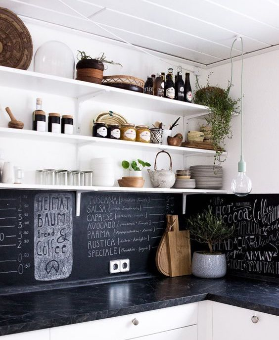 a black chalkboard backsplash and black marble countertops in a white kitchen