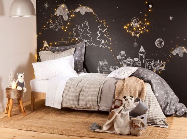 a chalkboard wall with various kids chalk art and string lights integrated - Bedroom String Lights
